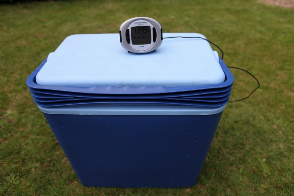 Picture 5 – Cool-box with steak in bag hanging inside, lid on and thermometer monitoring the temperature with probe.